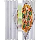 YUAZHOQI Cortinas opacas para pizza, concepto de entrega de pizza, caja abierta con sabrosa pizza italiana en rodajas con tocino, aceitunas, toma, 132 x 213 cm, cortina de reducción de ruido