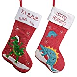 Valery Madelyn 2pcs Medias de Navidad, 46cm Calcetines de Navidad de Dinosaurio Rojo Verde Blanco, Adornos de Navidad Tela con Tarjeta de Nombre, Decoración de Regalo Navidad