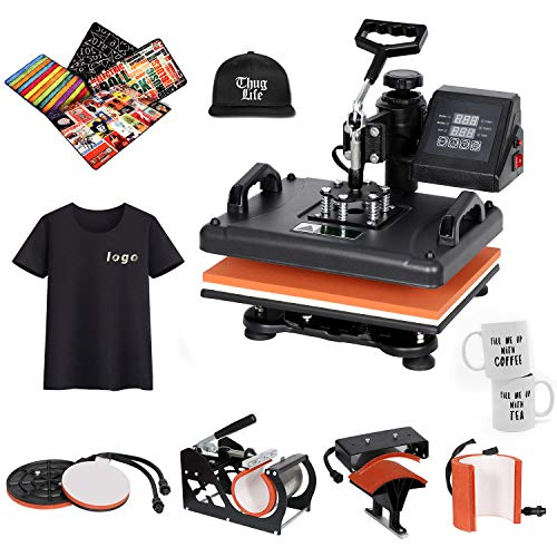 SUPER DEAL Pro 6 in 1 Heat Press Machine 12x15 Swing-Away Digital Heat Transfer Printing Sublimation for T-shirts, Bags, Mug, Cap/Hat, Plates Multifunction Combo Black
