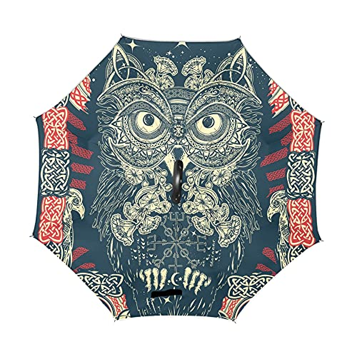 ALAZA Celtic Owl Print Ethnic Boho Windproof Inverted Open Close Reverse Rain Umbrella Inside Out Quality Waterproof Parasol Upside Down Stick Shelter with Hook c Handle