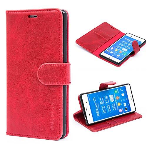 Mulbess Handyhülle für Sony Xperia Z3 Hülle Leder, Sony Xperia Z3 Handytasche, Vintage Flip Schutzhülle für Sony Xperia Z3 Hülle, Wein Rot