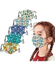 Snakell Reutilizables 𝐌𝐚𝐬𝐜𝐚𝐫𝐢𝐥𝐥𝐚𝐬 Lavables con Filtro para Niños, Tela de Respirable y Antipolvo con Patrón de Dibujos Animados, Orejeras Ajustables