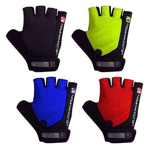 VeloChampion Guantes de carreras para el ciclismo de verano (Black/Blue, Medium) mitones con palma con Pro Gel Mitts