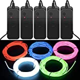 CPPSLEE Halloween Lights String 9.8ft EL Wire Lights, Super Bright Portable Neon Light Set for Halloween Decorations DIY Costume - 4 Modes Battery Controllers, 5 Colors