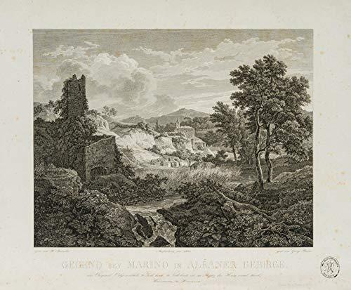 H. W. Fichter Kunsthandel: G.H. BUSSE (*1810), Gegend bei Marino im Albaner Gebirge, 19. Jhd, Kupferst.