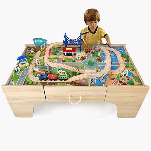 Wooden Train Track Set & Table for Kids Railway Activity with 80PCs Accessories