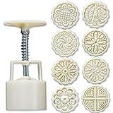 Gwxevce 8 Piezas Mano Prensa Galleta Sello Luna Pastel decoración Molde Barril Mooncake Molde 75g DIY Beige