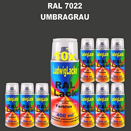 10 Spray de laque Auto Boîtes 400 ml Brillant RAL 7022 umbra Gris