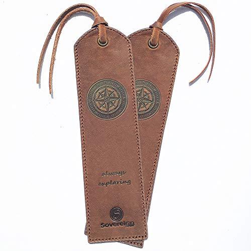 Leder-Lesezeichen Handarbeit mit Kompass-Design + Traditionellem Quasten Lesezeichen Echtleder Einzigartige Geschenke Für Frauen, Männer, Kinder & Freunde - 2 Leather Bookmarks mit Kompass