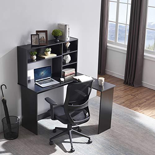Symylife Escritorio de Oficina en casa Escritorio para Juegos en Forma de L con aparador y estantes de Almacenamiento/gabinete de Almacenamiento de Archivos, Negro
