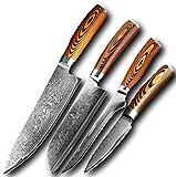 Cuchillos cocina 4 PCS Cuchillo de cocina Damasco Cuchillo de acero Chef Peeling Bone Herramienta de utilidad Color Wood Fácil manejo Mejor herramienta de regalo de hogar
