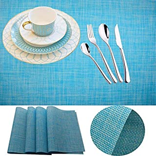 Placemat,IMIYOKU Set of 8 MiniBasketweave Woven Vinyl Non-slip Insulation Placemat Washable Table Mats (8, Blue)