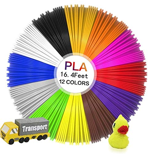 mciskin 3D Pen Filament Refills - 3D Refill Filled with PLA, 12 Colors 1.75mm, 16.4 feet per Color