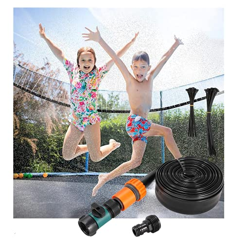Jsdoin Trampoline Sprinkler for Kids and Adults, 15m/49ft Outdoor Spray Hose for Water Play Park Sprinkler Outdoor Summer Game Sprayer for Boys Girls Trampoline Accessories, Outdoor Mister Cooling