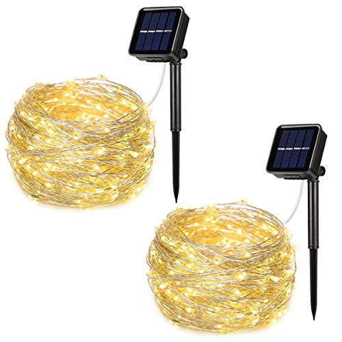 AOYOO Solar Powered String Lights, 2 Pack 100 LED Copper Wire Lights, 8 Modes Starry Lights, Waterproof IP65 Fairy Lights for Outdoor, Wedding, Homes, Party (Warm White)