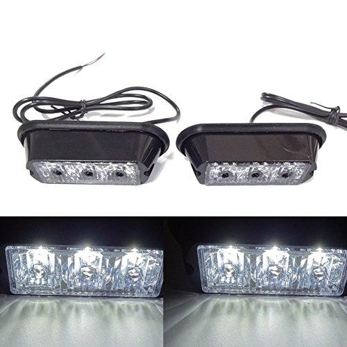 Viktion 2pcs de 3 LEDs Feux de Pénétration Lumière Stroboscopique Eclairage Clignotant à 17 Modes pour Voiture Camion véhicule SUV DC 12-24V (Blanc)