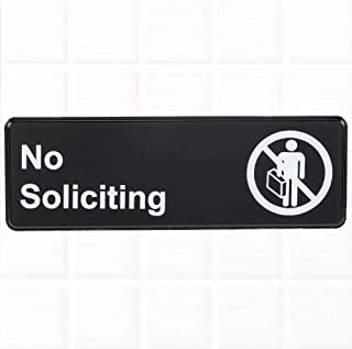 No Soliciting Sign for Door/Wall - Black and White, 9 x 3-inches No Soliciting Sign for Office, Commercial Signs by Tezzorio