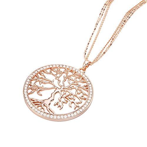 Piersando Damen Kette Halskette Lebensbaum Anhänger mit Strass Kristallen von Swarovski Elements Geschenke für Frauen Rosegold Rose Gold