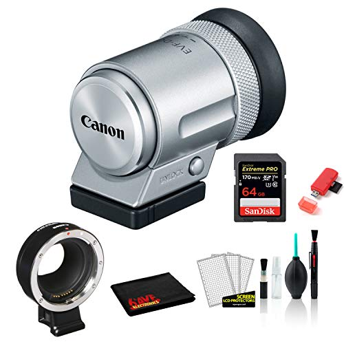Canon EVF-DC2 Electronic Viewfinder (Silver) 1882C001 Bundled with Lens Adapter Kit for Canon EF/EF-S Lenses + 64GB Memory Card + More