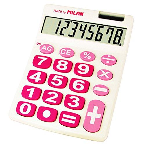 Milan 151708WBL - Calculadora, 8 dígitos, color blanco y rosa