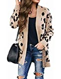 ZESICA Women's Long Sleeves Open Front Leopard Print Button Down Knitted Sweater Cardigan Coat Outwear with Pockets