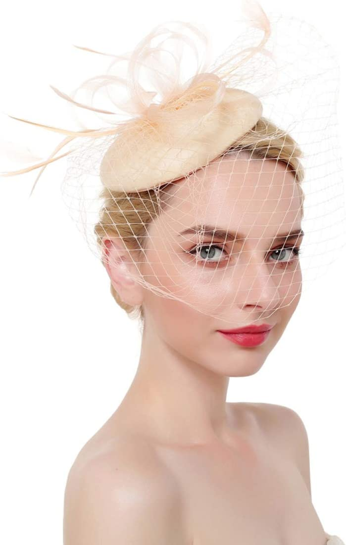 MELLOW SHOP High quality Quantity limited Ladies Fascinators Hat for Mesh Clips Hairpins Hair
