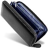[ GRACE ] 財布 メンズ ラウンドファスナー イタリアン カーボンレザー 長財布 (ブラック/ネイビー)