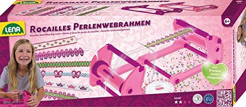 Lena 42682–Juego de manualidades Rocailles Perla Web Marco Incluye perlas de cristal en 8colores , color/modelo surtido