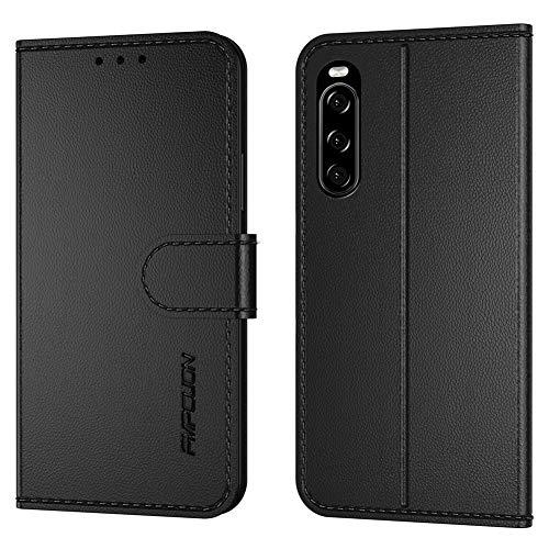 FMPCUON Handyhülle Kompatibel mit Sony Xperia 10 II(Neueste),Premium Leder Flip Schutzhülle Tasche Hülle Brieftasche Etui Hülle für Sony Xperia 10 II(6.1 Zoll),Schwarz