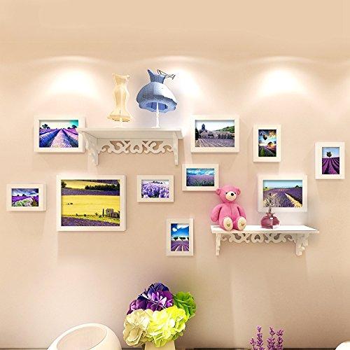 Bilderrahmen*Foto wand Massivholz Rahmenwand kreative Eingebauter Regalwand aus dem Mittelmeerraum Wohnzimmer Restaurant, alle weiß + Lavendel Kunst Herz + Integrierte Regal