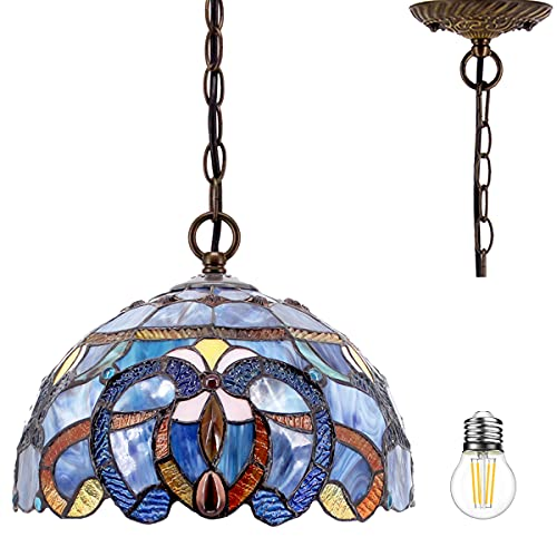 Tiffany Pendant Lighting for Kitchen Island Fixture 12' Blue Purple Cloudy Stained Glass Shade Industrial Boho Pendant Lamp Rustic Farmhouse Chandelier Swag Bar Hallway Living Dining Room WERFACTORY