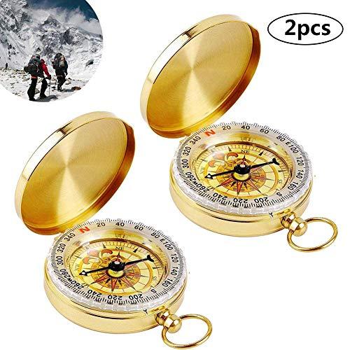 BETOY Messing Kompass, 2 Stücke Taschenuhr Kompass Outdoor Wasserdichter Kompass Portable für Camping Wandern und Andere Outdoor-Aktivitäten