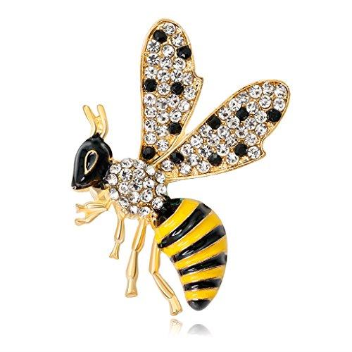 Cuigu Insekten-Brosche Biene für Damen, Strasssteine, Emaille, modische Dekoration