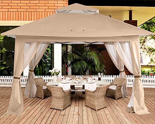 ABCCANOPY 13'x13' Gazebo Tent Outdoor Pop up Gazebo Canopy Shelter with Mosquito Netting (Khaki)