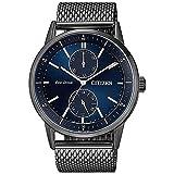 Citizen - Reloj para Hombre Multifunción Acero Negro Esfera Azul BU3027-83L