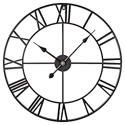 RuiyiF 24 Inch Metal Wall Clock Large Decorative Rustic Farmhouse Oversized, Silent Non-Ticking Battery Operated Kitchen Bedroom Living Room Wall Clock Large Decorative (Black)