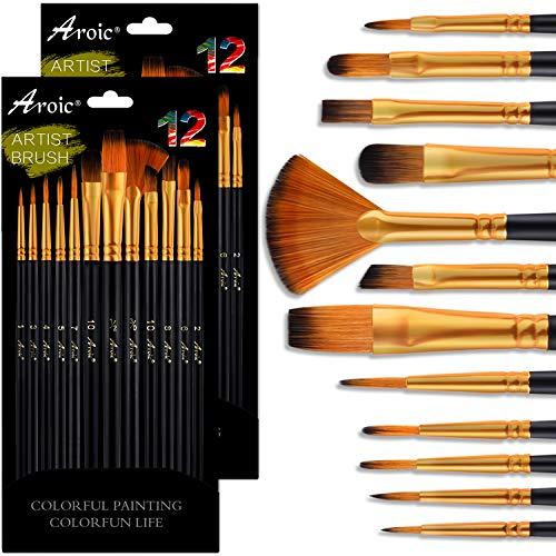 Conjunto de pincéis de tinta acrílica, 2 pacotes/24 pincéis de cabelo de nylon para todos os fins, pintura a óleo acrílico, aquarela, kits profissionais