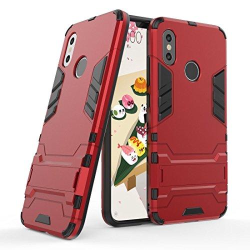 Funda para Xiaomi Mi 8 (6,21 Pulgadas) 2 en 1 Híbrida Rugged Armor Case Choque Absorción Protección Dual Layer Bumper Carcasa con Pata de Cabra (Rojo)