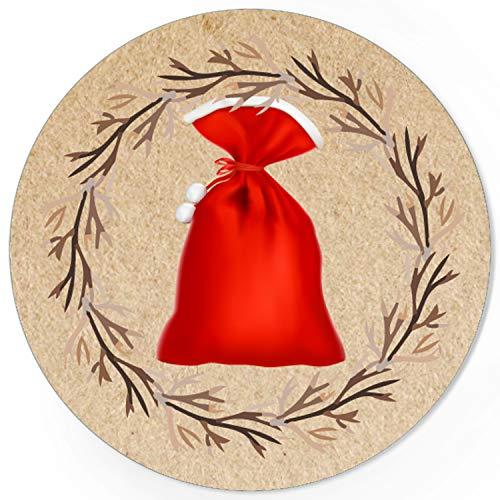 48 Weihnachtsaufkleber Weihnachtssack - für Geschenke zu Weihnachten/Sticker/Aufkleber/Etiketten/Geschenkaufkleber rund/Set
