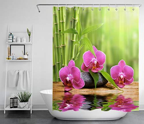 LB Duschvorhang Zen Spa 150x200cm Lila Orchidee im grünen Bambus Bad Gardinen mit Vorhanghaken Polyester Wasserdicht Anti Schimmel Badezimmer Vorhang