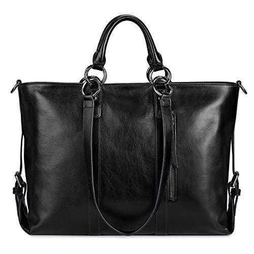 S-ZONE Damen Handtasche 3 Weg Tragen Echtleder Große Shopper Laptoptasche Schultertasche Aktentasche für Büro Schule Einkaufen Reisen