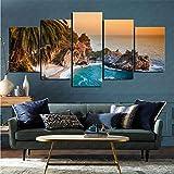 mmkow Canvas Print Image 5-Piece Set Earth Big Sur Living Room Artwork 80x150cm (Framed)