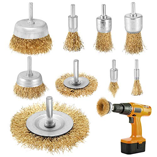 9pcs Rotary Wire Brush for Drill Attachment Brass Coated Copper Wire Wheel Cup Brush Drill Bit Set 1/4'(6mm) Shank for Paint Removal and Cleaning Rust
