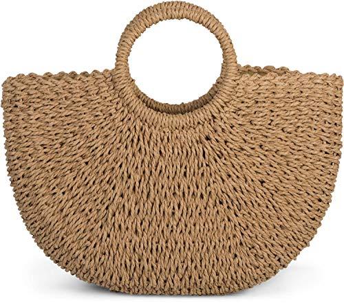 styleBREAKER Damen Halbrunde Korbtasche geflochten mit Kordelzug Verschluss, Bali Bag, Strandtasche, Henkeltasche 02012290, Farbe:Braun
