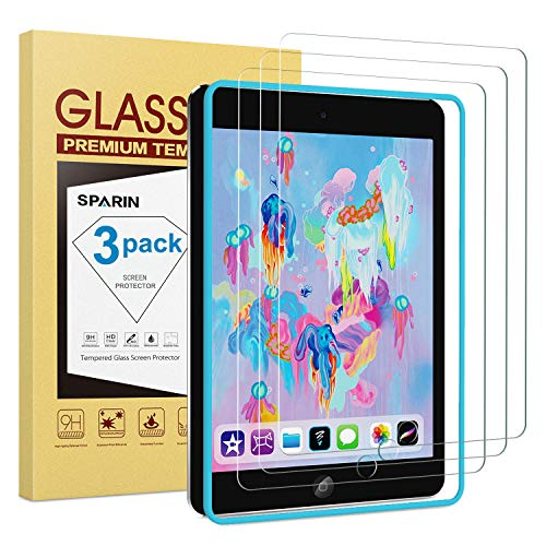 SPARIN [3 PACK] Glass Screen Protector for iPad 6th Generation (9.7 inch, 2018 / 2017) / iPad Pro 9.7, Tempered Glass, Alignment Frame, Apple Pencil Compatible