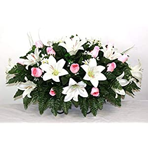 XL White Trumpet Lilies and Pink Roses Artificial Silk Flower Cemetery Tombstone Grave Saddle