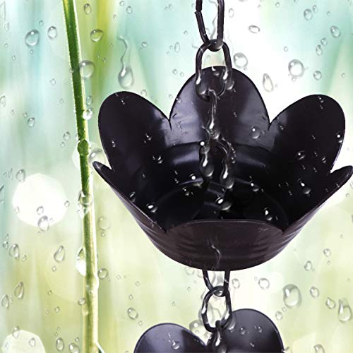 DOITOOL Catene da Pioggia Loto Fiore di Giglio Coppa Pioggia Catena di Scarico Campana Carillon Decorazione per Grondaia Grondaia