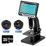 """Bidiso 7"""" LCD Digital Microscope with 2 Magnification Settings, 32GB SD Card USB Microscope   2000x Magnification, Dual Illumination, Built-in 12MP Digital Camera for Observing Cells/Coin/PCB/Insect"""