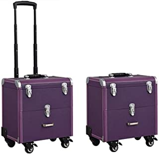 L.TSA Cosmetic Case Trolley Makeup Artist Special Multi Layer Large Capacity Caster Toolbox,Purple