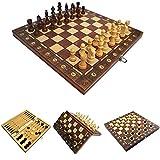 LAANCOO Ajedrez Plegable magnético Junta 3 en 1 Placa de ajedrez Plegable de Madera de ajedrez de Brown Junta Set 39 * 39cm
